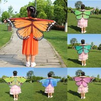 Wholesale Butterfly Poncho - 2017 new children 118*48cm Butterfly Printed Chiffon Beach Towel cartoon Butterfly Design Beach Shawl Poncho C2380