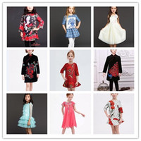 Wholesale Kids Dress Free Ems - 2017 Monsoon Customize Girl's Dress Spring Kids Dresses Tree Quarter Sleeve Flower Embroidery Dressy Party Formal Skirts EMS Free J3244