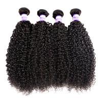 bakire mongolian kinky kıvırcık saçları topluyor toptan satış-10A Brezilyalı Kinky Kıvırcık Bakire Saç 3 4 Demetleri Hint Perulu Malezya Moğol Kinky Kıvırcık İnsan Saç Uzantıları İnsan Saç Dokuma