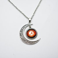 Wholesale alabama charms - 10PCS NCAA Alabama Sports Team Round Charm Pendant Necklace Jewelry For Glass Fans Sports Pendant Necklace