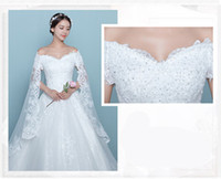 Wholesale Short Tight Wedding Dresses - 2017 Autumn A-Line Wedding Dress Strapless Floor-Length Tight Eye-contracting Long Lace Sexy Hollow Back Small V-neck Lace-Up B-25