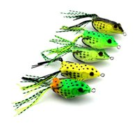 Wholesale Double Frog Hooks - 5 Colors Soft Frog Lure Topwater Bass Fishing Bait with Double Hooks 6cm 18.9g Plastic Lifelike Fishing Tackle for Saltwater