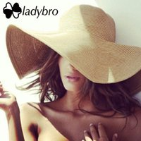 Wholesale Ladies Foldable Travel Hat - Wholesale- Ladybro Brand Wide Brim Floppy Straw Sun Hat Beach Women Hat Foldable Summer UV Protect Travel Cap Ladies Casual Cap Female