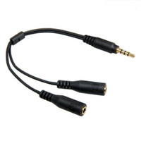 Wholesale Headphone Adapter Cable Pin - 3.5 mm Four Pin to 2x Three Pin Headset headphone Splitter Adapter cable lead