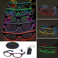 Wholesale El Glow Neon Light - LED Party Lighting Glasses Fashion EL Two-color Glowing Glasses Xmas Birthday Halloween neon party Bar Costume decor supplies WX-G13