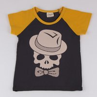 Wholesale Kids Soft Blocks - Kids Boys Clothes Skull Pattern Round Collar Color block short Sleeved T-Shirt Cotton High Quality Soft Fashion Cool Breathable Black Shirt