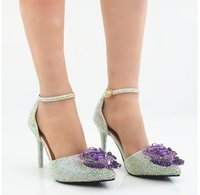 Wholesale Patent Manual - New Pointed purple monster kyi AB drill manual shoes bride wedding shoes white high-heeled slippers sandals shoes with diamonds
