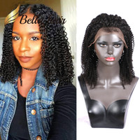 pelucas naturales curl al por mayor-Afro Kinky Curl Pelucas llenas del cordón Pelucas del frente del cordón del cordón del pelo humano indio del 100% Pelucas delanteras del cordón Envío libre Bella Hair