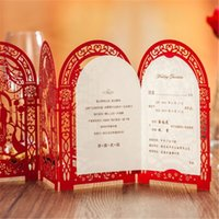 Wholesale Wedding Invitations White Sheet Card - Wholesale- Wedding Invitation Card Romantic Party Red White Delicate Carved Pattern with Envelope Blank Sheet Wedding Decoration Supplies