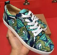 Wholesale Serpentine Shoes - Wholesale Loubs Red Bottom Shoes Women Sneakers Men's Flat Serpentine Print sneaker Male Party Wedding Casual Shoes
