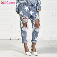 Streetwear Fashion Big Hole Ripped Jeans Stars Print Roll Up Джинсы Женские прямые джинсовые брюки Дамы Loose Boyfriend Jeans