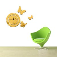 Wholesale Art Wall Round Clock - Acrylic 3D mirror wall stickers round clock Creative Home Decor DIY butterfly Carved bedroom Removable Decoration Stickers 2017 wholesale