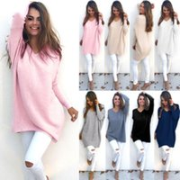 Wholesale Womens Long Warm Sweaters - Wholesale- New Womens Ladies V-Neck Warm Sweaters Casual Sweater Jumper Tops Outwear