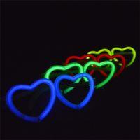 Wholesale Wholesale Glow Sticks Accessories - 1000PCS Love Heart Shape Led Glasses Accessories Stick Frame Glow Stick Glasses For Wedding Christmas Party Decoration Free Ship