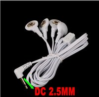 Wholesale Wire Length Machine - free-shipping-20pcs lot 4 in1 2.5mm head 4-way Electrode Pad Connector Wire for tens Massager machine Length 120 cm
