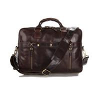 "Wholesale Laptop Md - Wholesale-Vintage Men Briefcase Business Genuine Leather Bag Men Messenger Bags Coffee 14"" Laptop Handbag Bag Men's Travel Bags #MD-J7201"