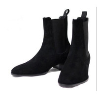 Wholesale Blue Ankle Booties - Men Suede Martin Boots Wyatt Chelsea Booties Men Stacked Heel Slip-On Shoes Fashion Nubuck Leather Chelsea Boot Ankle Men Shoes