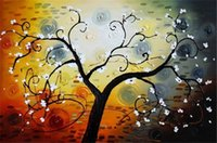 Wholesale Trees Flower Floral Painting - New DIY 5D Mosaic Diamond Painting Cross Stitch kits white flower tree full Resin round Diamonds Embroidery needlework Home Decor yx0637