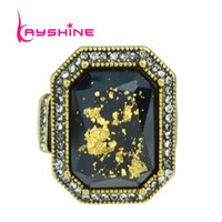New Arrival Vintage Style Rings Antique Gold avec strass Black Stone Big Finger Rings For Women