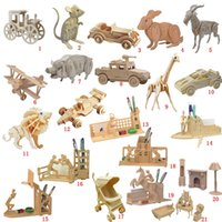 Wholesale Toy Wooden Construction Kits - 3D Wooden Puzzles Woodcraft Construction Kit Moving Model Kit DIY Puzzles Kids Educational Toys Gifts