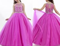 Wholesale Cheap Fuschia Beads - Princess Girls Pageant Dresses Ball Gown Fuschia Tulle Beaded Crystal Flower Girl Dresses Cheap Long Formal Little Girls Dress