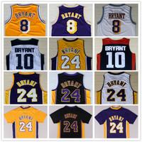 Wholesale Cheap Jerseys Free Shipping - Wholesale Men's #24 Kobe Bryant Jersey Purple White Black Yellow Throwback Cheap #8 Kobe Bryant Basketball Jerseys Free Shipping