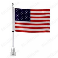Custom Motorcycle Silver Side Side Mount Flag Pole con bandiera USA per Harley