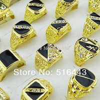 30pcs Hot Selling Cool Mix Style Czech Rhinestones Black Enamel Gold Plated Moda Mens Rings Atacado Jóias Lotes A-048