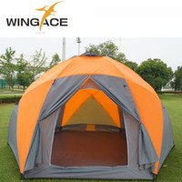 Wholesale Large Tents For Camping - Wholesale- Outdoor Tourist Tents Weatherproof Large Camping Tent For Family Holiday 8-10 Person Camping Tent Double Layer Yurt