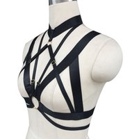 Mulheres Goth BONDAGE BODY HARNESS Gold O ring body Cage Bra Crop Top preto Elastic Strap girl Sexarter belt HIGH QUALIT Lingerie