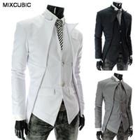 Wholesale Korean Slim Fit - Wholesale- MIXCUBIC fashion spring Autumn Korean style Asymmetrical design suit men Business casual Slim fit solid color suit for men M-2XL
