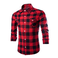 Wholesale Checked Slim Fit Shirt - Wholesale- Mens Fashion Causal Plaids Checks Shirts Long Sleeve Turn Down Collar Slim Fits Fashion Shirts Tops Black Red White XXL Y1950