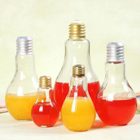 Wholesale Transparent Flower Art - Creative Eye-catching Light Bulb Shape Tea Fruit Juice Drink Bottle Cup Plant Flower Glass Vase Home Office Desk Decoration ZA1860