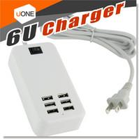 station d'accueil pour chargeur de port usb achat en gros de-6 ports USB Chargeur mural rapide multifonction Station d'accueil de bureau Chargeurs pour adaptateur d'alimentation CA Prise EU