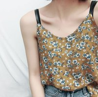 Wholesale Loose Tanks For Girls - New Chiffon Printed V neck lady camis Floral summer cool women vest loose summer tanks for girls
