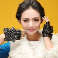 Wholesale Lady Car Models - Wholesale- new women autumn winter lady model sexy Fashion Synthetic Bow knot driving car pole dancing gloves Mittens