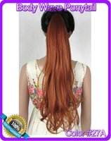 Wholesale quot cm g body wave ribbon ponytail hairpiece hair pieces clip in hair extensions color A Light Red Brown