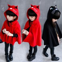 Wholesale Cape Ears - Christams Kids cloaks capes girls cute cat embroidery woolen shawl coat children stereo cat ears hooded princess poncho outwear R0159
