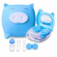 Wholesale Pig Contact Lens Case - 4 color ABS Clean Cute Unisex Pig Cartoon Contact Lens Case Companion Box Contact Lenses Box