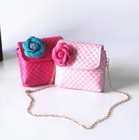 Wholesale Pu Messenger Bag Camellia - DHL Free shipping New Camellia Kid Bags Designer Children Flower Shoulder Bag Kids Girls Mini Summer Bag Baby Girl Purse Candy Color CK062