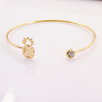 Wholesale Cute Cuffs - New fashion accessories jewelry copper alloy cute Pineapple fruit cuff bangle for women girl nice gift B3348