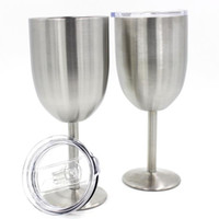 Wholesale Goblet Metal - 10oz Stainless Steel Wine Glass Double Wall Insulated Metal Goblet With Lid Tumbler Red Wine Mugs OTH382