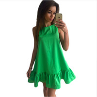 Wholesale Vestidos Sexy Ruffles Women Dress Summer Sleeveless Casual A Line Bodycon Dresses Party Cocktail Short Mini Tube Beach Dress