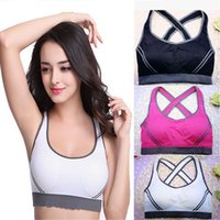 Wholesale Chiffon Nylon Underwear - New Women Padded Top Athletic Vest Gym Fitness Sports Bra Stretch Shockproof yoga bra cross back running vest underwear