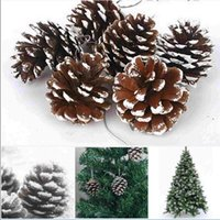 Wholesale Wholesale Cone Candles - Christmas Tree Hanging Balls Pine Cones Simulation Natural Pineal 9pcs Lot Party Decoration Ornament Decor For Home Christmas Supplies