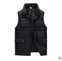 Wholesale Middle Age Men Jacket - Wholesale- Autumn and winter new middle - aged vest men 's vertical collar thick warm multi pocket zipper sleeveless jacket men cotton ve