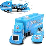 Wholesale Diy Toys Truck Car - Pixar Cars Mack Truck Toys Blue Container DINOCO with Racing Small Car Alloy Christmas cars Diecast Alloy And Plastic for child