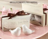 Wholesale Salt Pepper Green - Wholesale-40pcs lot(20boxes) Love birds ceramic Salt and Pepper shaker Wedding Favors for Cheapest Wedding gift Free shipping