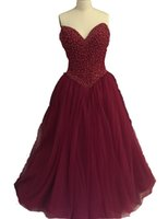 Wholesale photo image art for sale - 2017 New Real Image Prom Dresses Sweetheart Burgundy Lace Crystal Beaded Pearl Tulle Ball Gown Evening Dress Party Pageant Formal Gowns