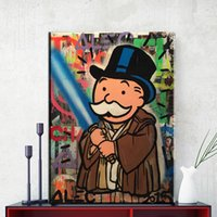 Wholesale Wall Street Canvas - ZZ1756 1 pcs Alec Monopoly Sword Wall street art Graffiti painting canvas print POP ART Giclee poster print on canvas for wall painting